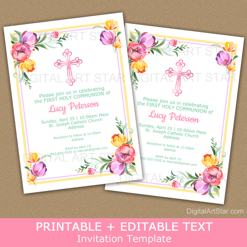 Floral First Holy Communion Invitation Printable