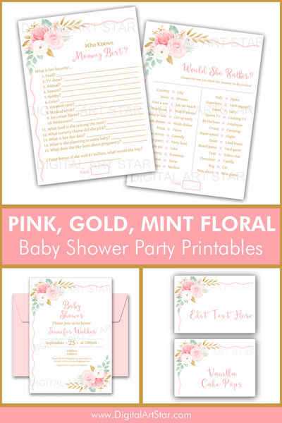 Floral Themed Baby Shower Party Printables Pink Gold Mint Green