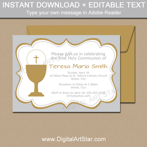 Girl First Holy Communion Invitation Printable Silver and Gold