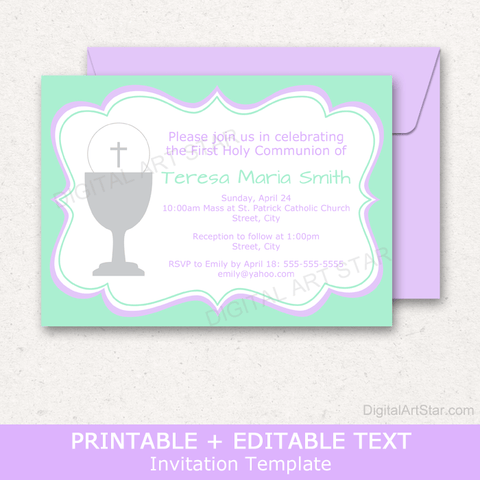 Girl First Holy Communion Party Invitation Template Download Mint Green and Lavender