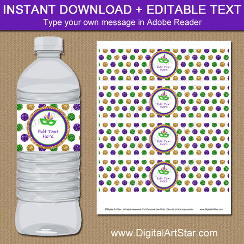 Glitter Water Bottle Labels for Mardi Gras Birthday Party