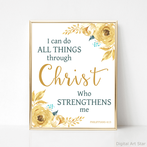 Gold and Teal Scripture Art Print I Can Do All Things Through Christ