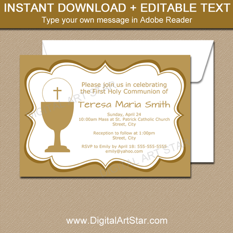 Gold First Holy Communion Invitation Girl