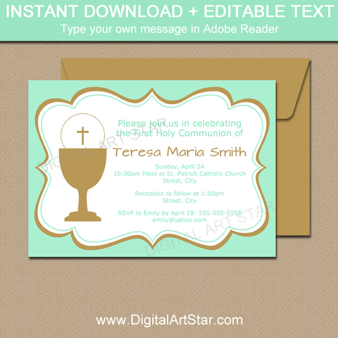Boy Girl Twins First Communion Invitation in Mint Green and Gold