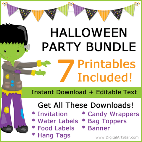 Printable Monster Halloween Party Bundle with Halloween Party Decorations and Halloween Party Favors