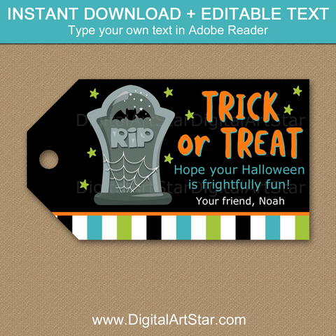 Halloween Trick or Treat Tags Tombstone Gift Tags Printable