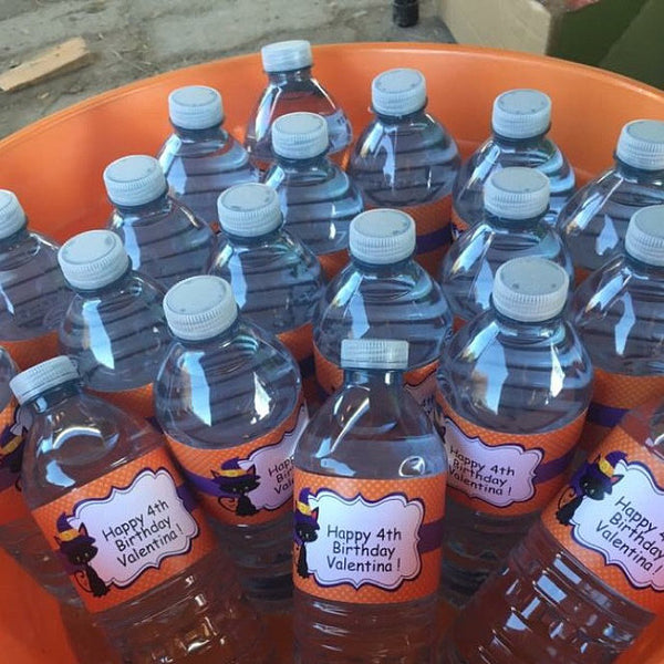 Halloween Cat Water Bottle Labels