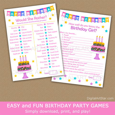 Happy Birthday Party Games Bundle for Girl Birthday Party