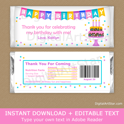Happy Birthday Party Theme Candy Bar Wrappers for Girl Birthday