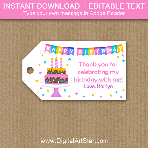 Happy Birthday Party Theme Thank You Tags for Girl Birthday