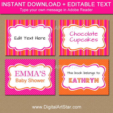 hot pink and orange food label template by digitalartstar