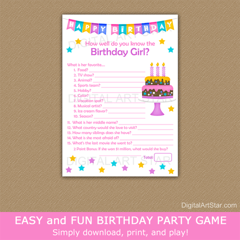 How Well Do You Know the Birthday Girl Printable Birthday Game