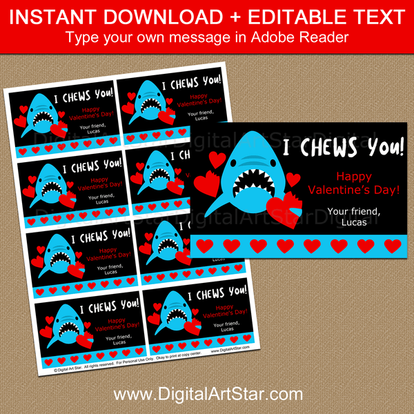 I Chews You Shark Valentine Cards Printable