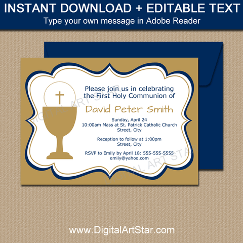 Gold First Communion Invitations for Boy Communion Party