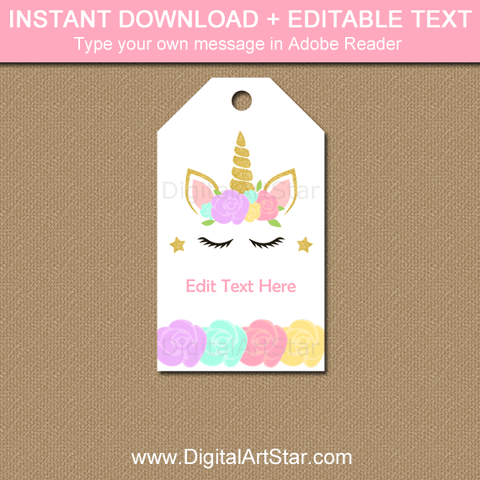 Editable Unicorn Thank You Tag Template