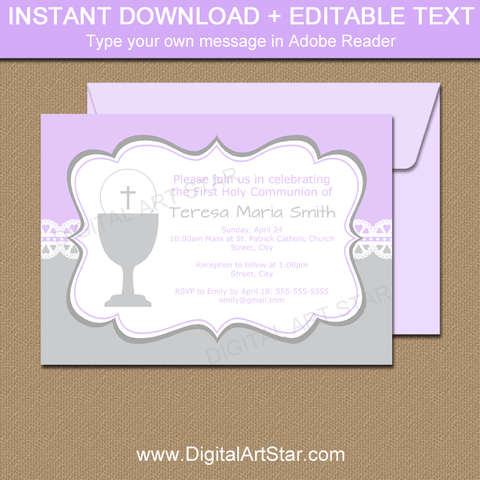 Lace 1st Holy Communion Invitation Template Lavender and Silver