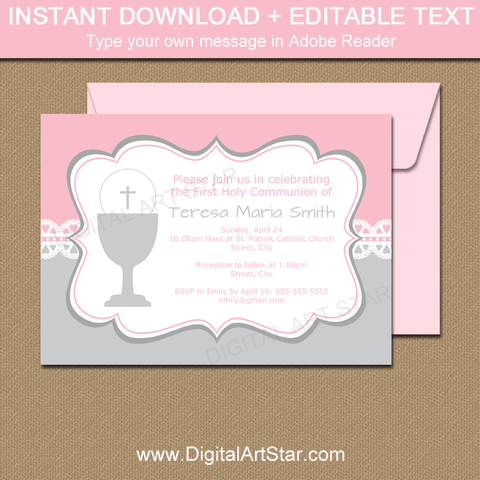 Lace First Communion Invitation Printable Pink and Silver