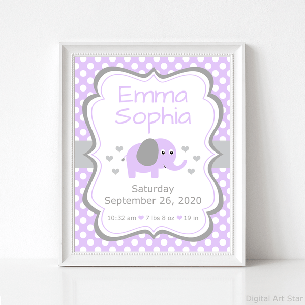 Downloadable Elephant Baby Birth Stats Printable Wall Art Decor in Lavender and Gray