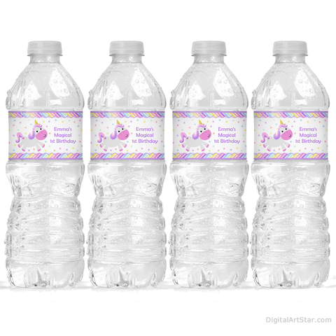 Magical Unicorn 1st Birthday Party Decorations Printable Water Bottle Labels