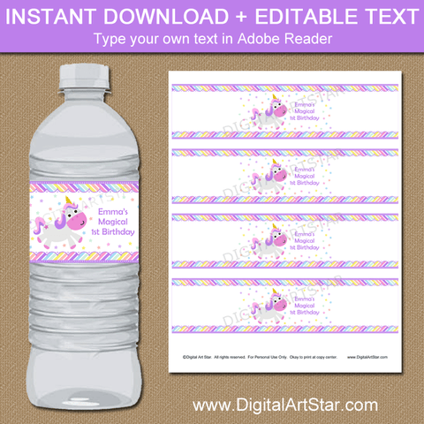 Magical Unicorn Birthday Water Bottle Labels Printable Template