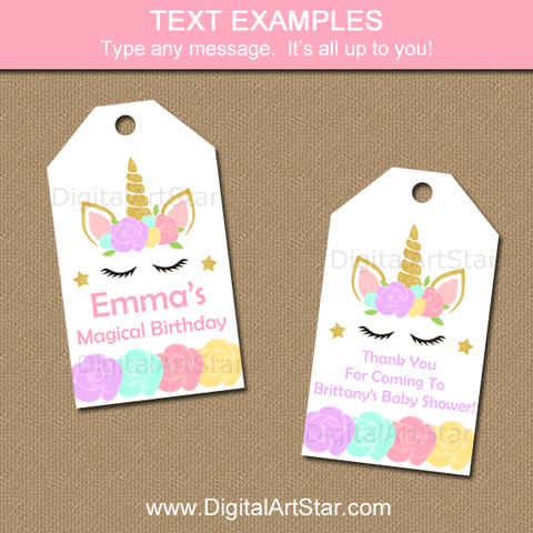 Editable Unicorn Hang Tags for Party Favors
