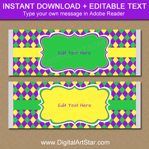 Mardi Gras Birthday Candy Bar Wrappers for Party Favors