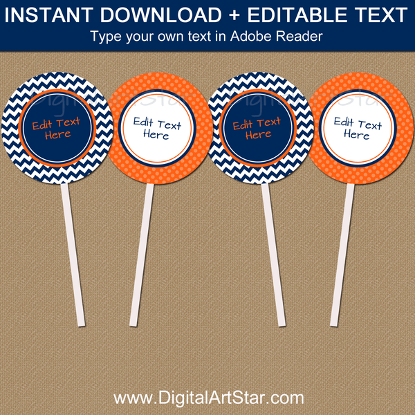 Birthday Printable Cupcake Toppers Navy Blue Orange White