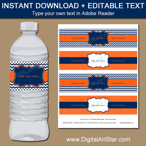 Instant Download Birthday Water Bottle Labels Navy Orange White