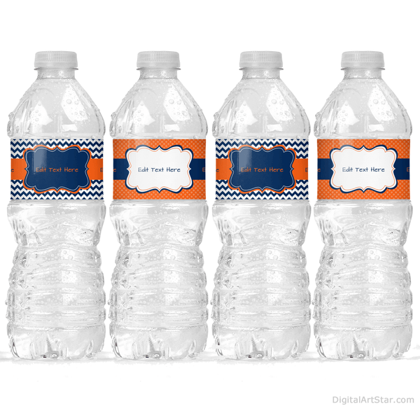 Men Birthday Water Bottle Stickers Navy Blue Orange White