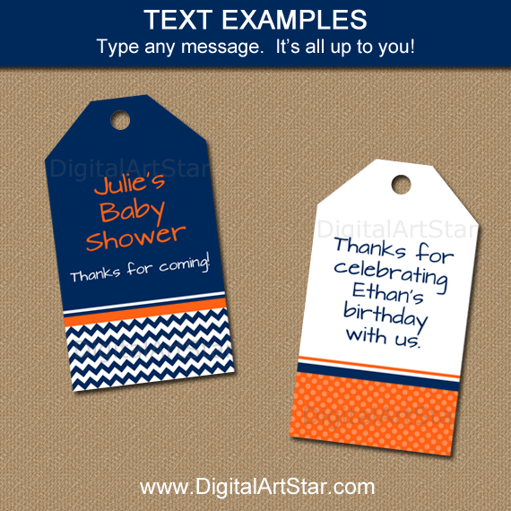 Navy Orange White Birthday Printable Tags