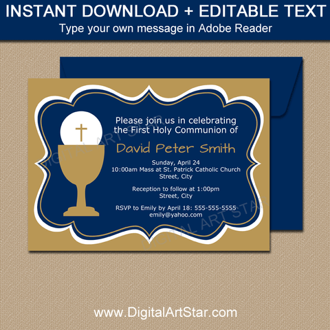 Navy Blue and Gold Printable First Communion Invitations