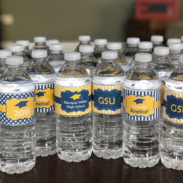 Navy Blue and Yellow Graduation Party Water Bottle Labels