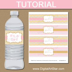 picture tutorial for pink and gold water bottle stickers