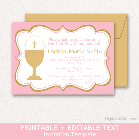 Pink and Gold Girl First Communion Party Invitations Download