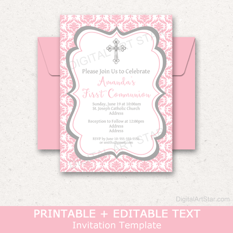 Pink Damask First Holy Communion Invitation Template for Girl