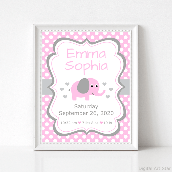 Printable Elephant Birth Details Wall Art Print Pink and Gray