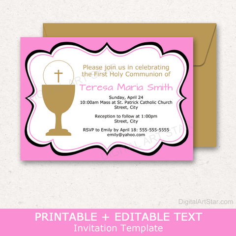 Editable First Holy Communion Invitation Template Pink Gold Black