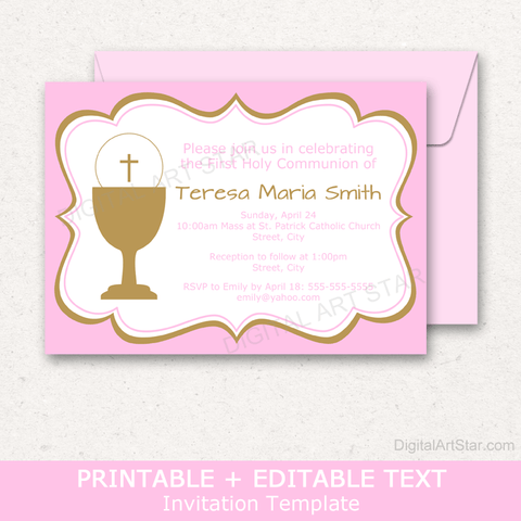 Pink and Gold First Communion Party Invitation Template Editable
