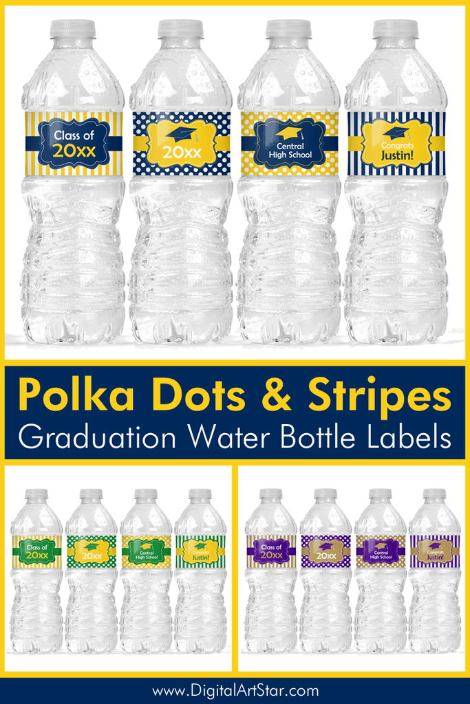 Polka Dot and Striped Graduation Water Bottle Labels 2021