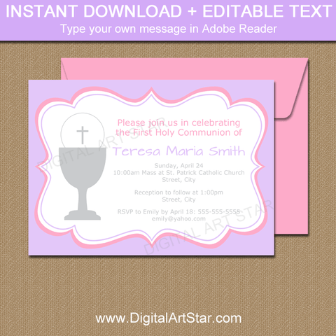 Printable 1st Holy Communion Invitation Template Lavender and Pink