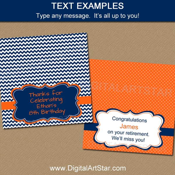 Printable Birthday Candy Bag Toppers Navy Blue Orange White