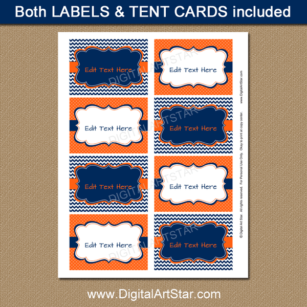 Printable Food Labels for Birthday Party Decorations