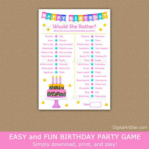 Printable Game for Girl Birthday Party Would She Rather