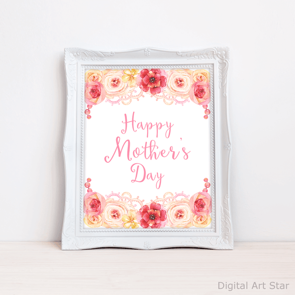 Printable Happy Mothers Day Wall Art Decor