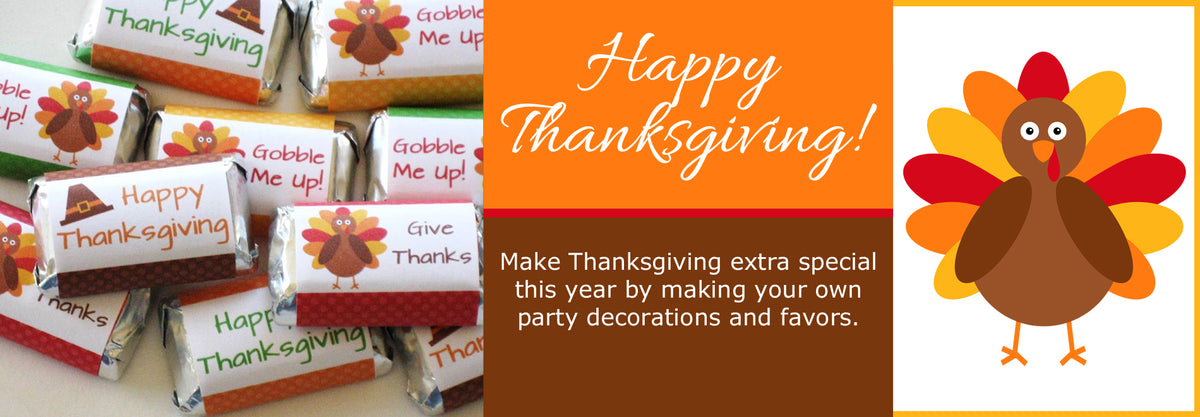 Printable Thanksgiving Ideas, Party Decorations, Party Favors by Digital Art Star