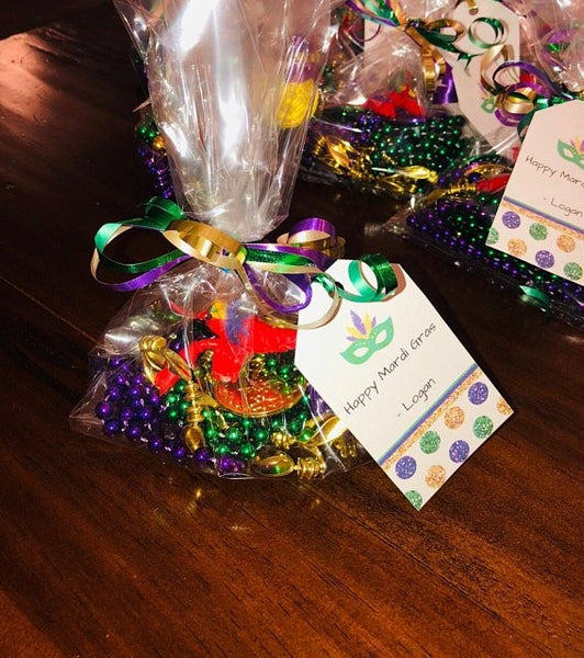Editable Mardi Gras Gift Tags for Favor Bags