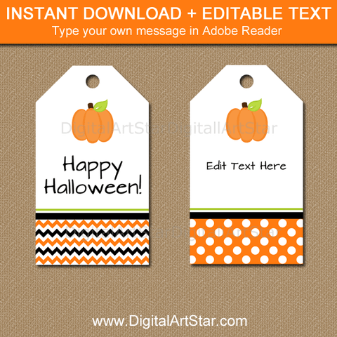 Pumpkin Tags for Halloween Goody Bags