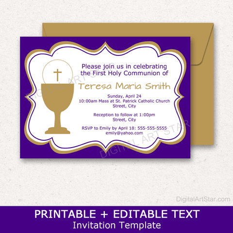 Purple First Holy Communion Invitation Template Printable for Girls