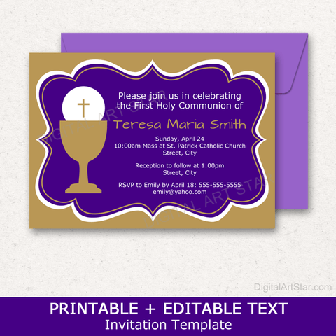 Purple and Gold Editable 1st Holy Communion Party Invites