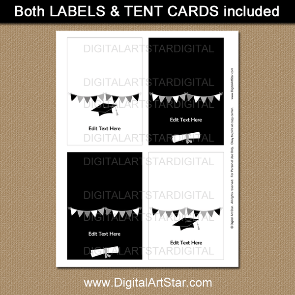 Quarantine Graduation Place Cards, Tent Cards, Food Tents